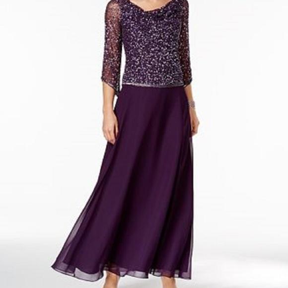 ea685a829d42 J Kara Dresses | Beaded Popover Cowl Neck Gown Plum Size 10 | Poshmark